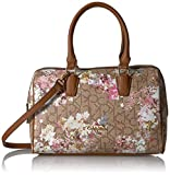 Calvin Klein Key Item Small Monogram Bowling Bag Satchel, Txt Khaki/Brown/Floral