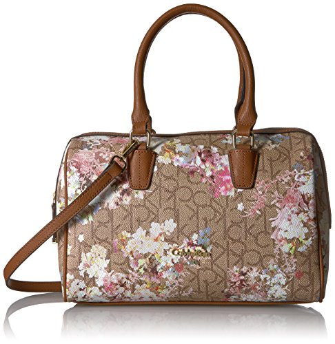 Calvin Klein Key Item Small Monogram Bowling Bag Satchel, Txt Khaki/Brown/Floral by Calvin Klein