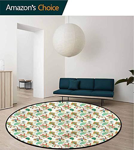 (RUGSMAT Jacobean Modern Vintage Rugs,Colorful Flower Pattern Non-Slip No-Shedding Kitchen Soft Floor Mat Round-47)