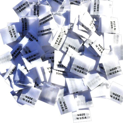 (500 WOVEN CLOTHING LABELS WHITE WITH BLACK LETTERING, MADE IN U.S.A. (500 labels/pack))