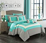 King Size Bed Sheets and Comforter Sets Chic Home Duke 10 Piece Comforter Set Complete Bed in a Bag Pieced Color Block Patterned Bedding with Sheet Set And Decorative Pillows Shams Included, King Turquoise