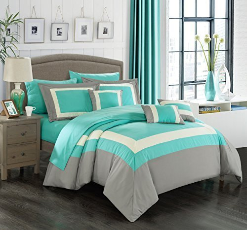Chic Home Duke 10 Piece Comforter Set Complete Bed in a Bag Pieced Color Block Patterned Bedding with Sheet Set And Decorative Pillows Shams Included, Queen Turquoise (And Gray Coral Bedding)