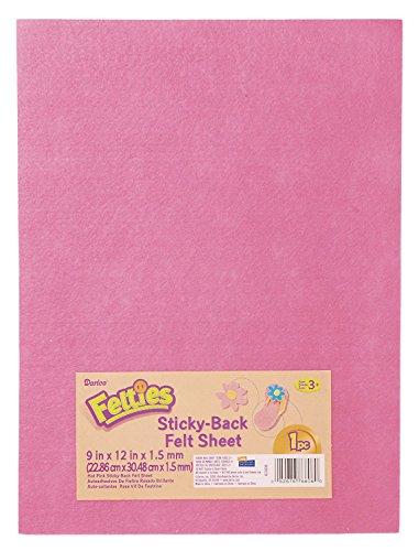 10 Sheets of Darice Felties Sticky Stiff Felt Sheets, 1mm, Hot Pink, 12