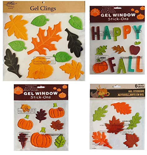 Fall Decorations - Window Gel Clings Pumpkins, Large Maple and Oak Leaves, Happy, and More- 4 Sheets for $<!--$22.97-->