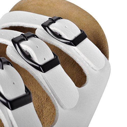 vidaXL Sandales unisexes blanches en liège bio avec 3 brides à boucle Taille 40
