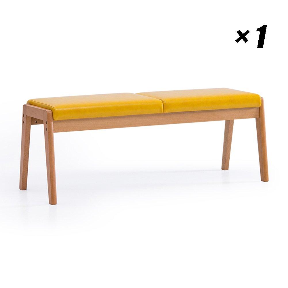 PUロングダイニングチェアソリッドウッドキッチンシートカフェラウンジチェア家庭用、会議用、オフィス用117×40×44cm (色 : イエロー いえろ゜, サイズ さいず : Set of 1) B07FBNRVMDイエロー いえろ゜ Set of 1