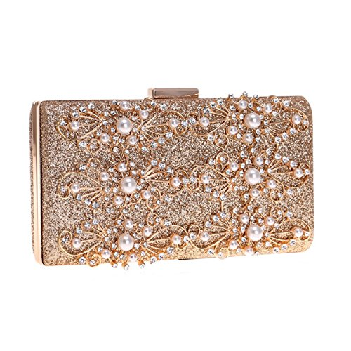 Clutch Purse Gold Handbags Evening Wedding Clutch Chain Flower with Bags Beaded for Vintage Gold Women Flada qFYnS0A0