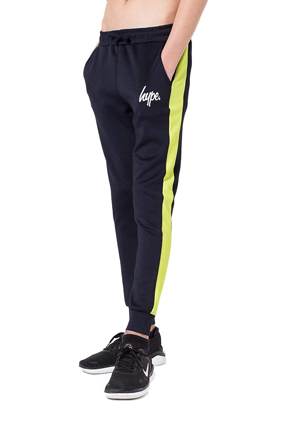 13 hype Boys Junior Boys Mini Script Joggers in Navy Green