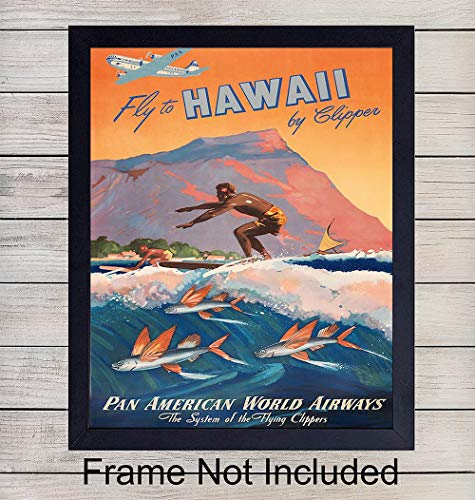 Hawaii Poster Vintage Wall Art Print - 8x10 Unframed Photo - Makes a Great Gift for Travelers- Chic Home Decor ()