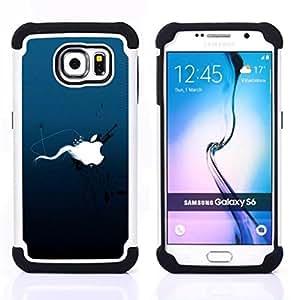 """Samsung Galaxy S6 / SM-G920 - 3 en 1 impreso colorido de Altas Prestaciones PC Funda chaqueta Negro cubierta gel silicona suave (Splash ballena submarino Arte de buceo"""")"""