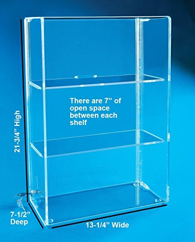 Display Case with Locking Back Door   Acrylic Case (SD212 (w/2 Shelves) -  21-3/4H x 13-1/4W x 7-1/2