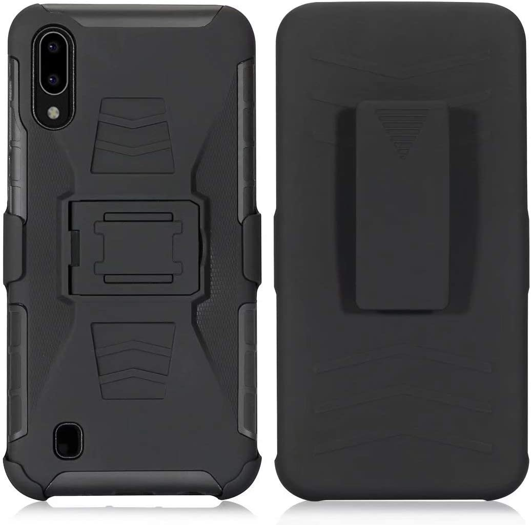 Lantier Hybrid Heavy Duty Shockproof Rugged Holster Protective Case with Kickstand and Swivel Belt Clip for Samsung Galaxy A10 Black