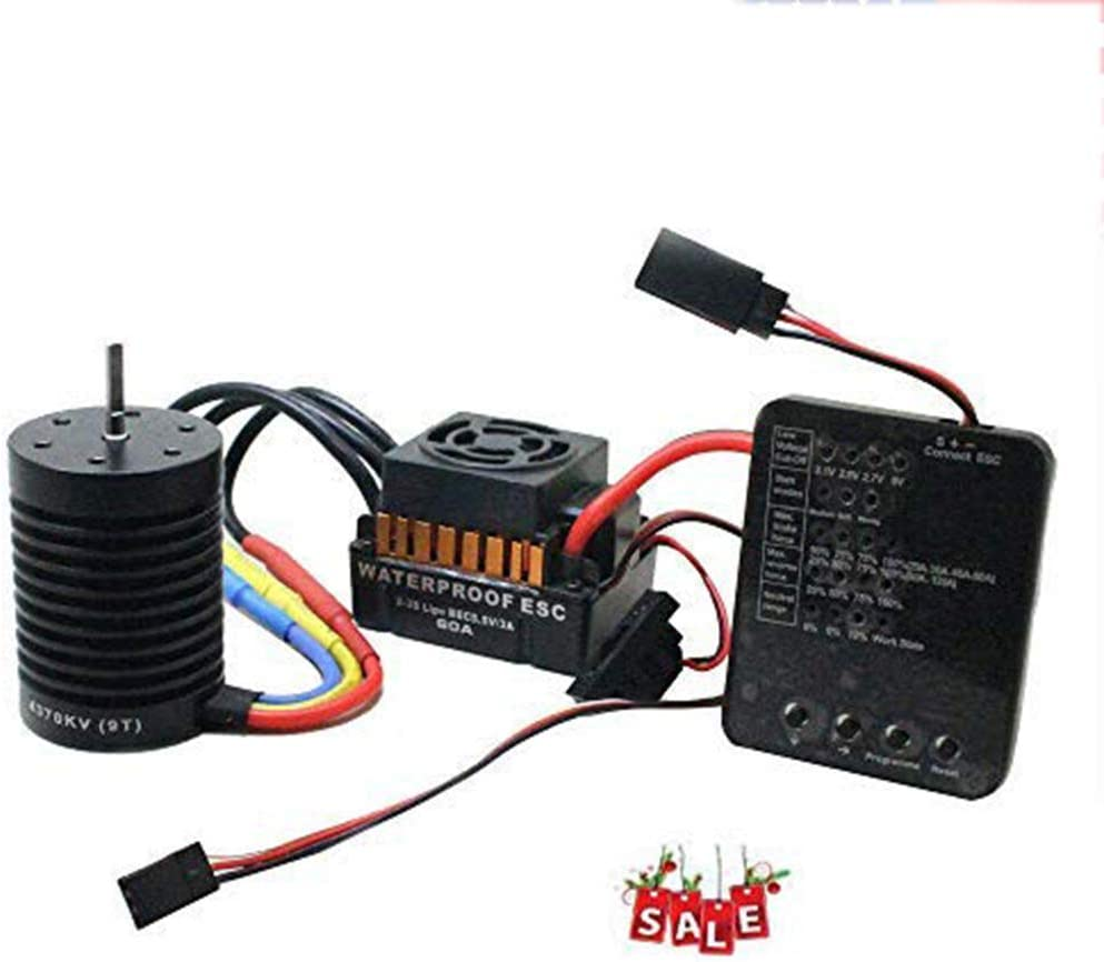 9T 4370KV Brushless Motor + 60A ESC +Program Card Combo for 1/10 RC Car Truck,4-Pole 12-Slot Hi-Torque Motor,Waterproof ESC,High Purity Copper Winding 519N8pY2MuL