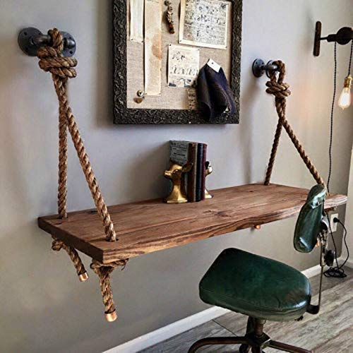 (Wall Mounted Desk, Mediterranean Hemp Rope Industrial Style Kitchen Dining Table,Solid Wood Children Table,Floating Home Office Workstation PC Desk with Storage Shelves Corner Desk (39.37 L 23.62 W))