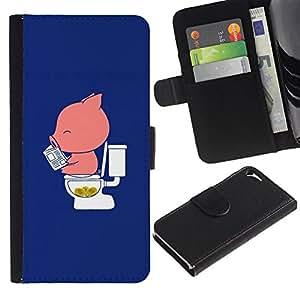 For Apple iPhone 5 / iPhone 5S,S-type® Cartoon Funny Blue Pink Minimalist - Dibujo PU billetera de cuero Funda Case Caso de la piel de la bolsa protectora
