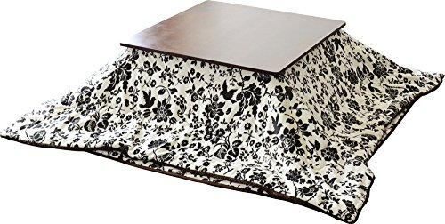 Emoor Microfiber Kotatsu Futon Set Comforter Rug Square Type Classical Floral Pattern White
