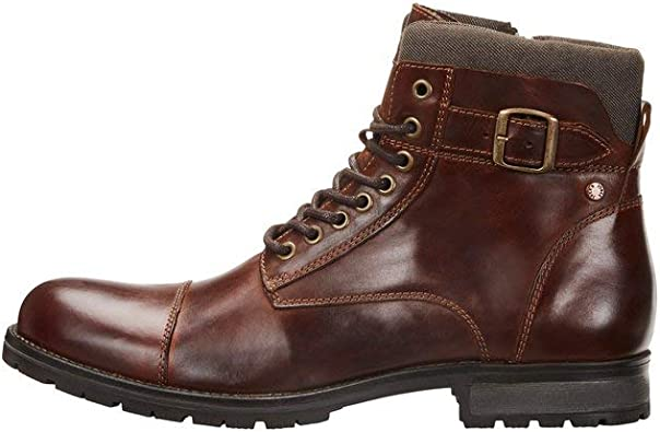 Jack & Jones Jfwalbany Leather Brown Stone STS, Biker Boots Hombre