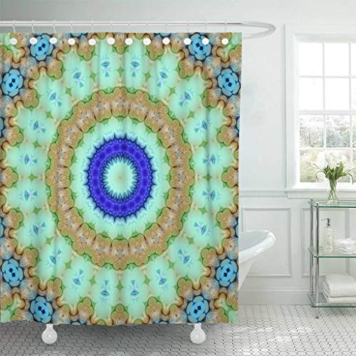 Glass Patterns Painting Reverse (Emvency Fabric Shower Curtain with Hooks Colorful Arabic Creative Abstract Color Mandala Floral Style Raster Glass Circle Gem Extra Long 72