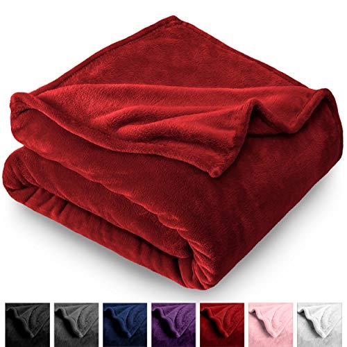 Bare Home Kids Microplush Fleece Blanket - Twin/Twin Extra Long - Ultra-Soft Velvet - Luxurious Fuzzy Fleece Fur - Cozy Lightweight - Easy Care - All Season Premium Bed Blanket (Twin/Twin XL, Red)