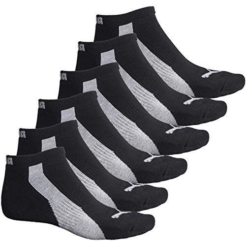 Puma 6-Pack Low Cut Mens Socks Stay-Up Cuff and Heel Cushioned Arch Support (6-12, Black/Heather Gey Stripe)