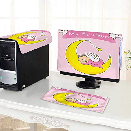 Pink Collection Birth Announcement - Auraisehome Computer Keyboard Dust Cover 3 Pieces Collection Baby Sleeping on The Moon Girl Baptism Birth Announcement Cartoon Illustration dust Cover Computer case /17