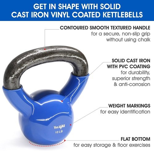 Yes4All Vinyl Coated Kettlebell Weights Set - Great for Full Body Workout and Strength Training - Vinyl Kettlebell 10 lbs by Yes4All (Image #3)