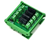 ELECTRONICS-SALON DIN Rail Mount 4 Channel SSR/Solid State Relay Interface Module, AC100~240V/2A.