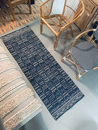 2 x 6 Runner Indigo Blue and White Batik Pattern Printed Cotton Small Runner Rug, Carpet or Mat