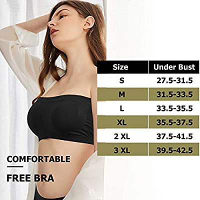 Common District Womens Seamless Crop Tube Top Padded Strapless Bandeau Bra 1/3 Pack