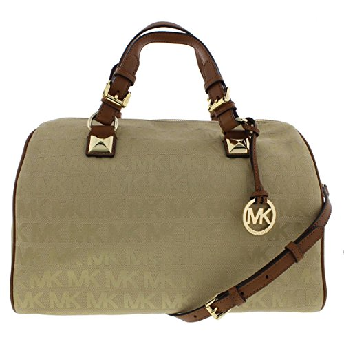 MICHAEL Michael Kors Womens Grayson Jacquard Satchel Handbag Tan Large (Handbag Kors Grayson Michael)