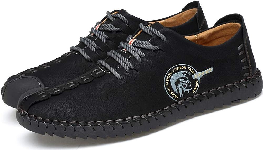 Phefee Chaussures De Ville Homme Cuir Nubuck Su/ède Oxfords Casual Design Plat Chaussure /à Lacets pour Homme Jaune Kaki Noir