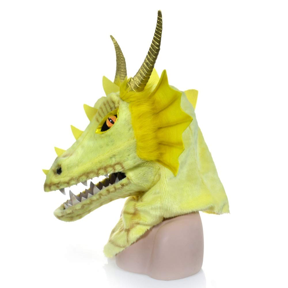 KX-QIN Halloween full face purple dragon head moving mouth animal mask on Halloween, party, carnival and etc for adult Deluxe Novelty Halloween Costume Party Latex Animal Head Mask for Adults and Kids by KX-QIN