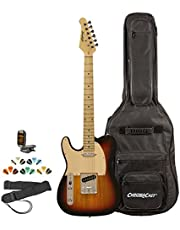 Sawtooth ET Series Left Handed Electric Guitar, Guitar Instructional, Gig Bag, Picks, Strap and Tuner