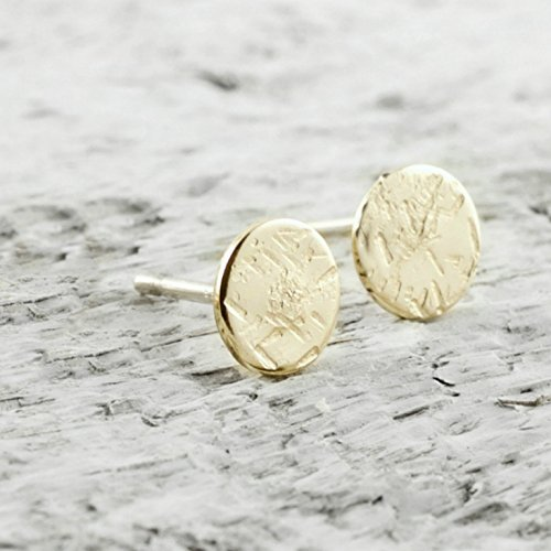 Disc Gold Filled (Tiny Disc Stud Earrings In 14k Gold Filled Jewelry Gift For Women Sparkle Texture)