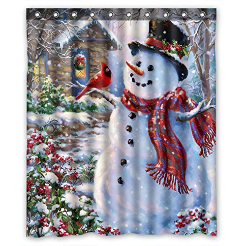 FMSHPON Happy Snowman and Cardinals Winter Holiday Merry Christmas Waterproof Polyester Fabric Shower Curtain 66x72 Inches -