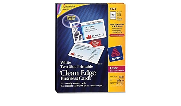 Amazon 5874 avery clean edge business card for laser print amazon 5874 avery clean edge business card for laser print 350 x 2 0 recycled content 1000 box white computers accessories colourmoves