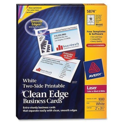 5874 Avery Clean Edge Business Card - For Laser Print - 3.50'' x 2'' - 0% Recycled Content - 1000 / Box - White