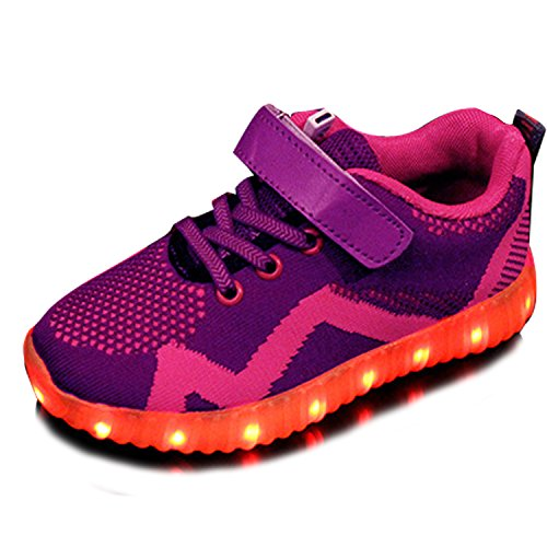 Kid Boy Girl LED Shoes Light up Fashion Sneakers Athletic Shoe Student Dance Boot Party Shoes USB Charge Purple FuVV7Sb