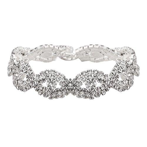 (GoldeaDream Fashion Silver Crystal Infinity Bracelets Rhinestone Bridal Wedding Jewelry for Women Teen Girls-GD059)