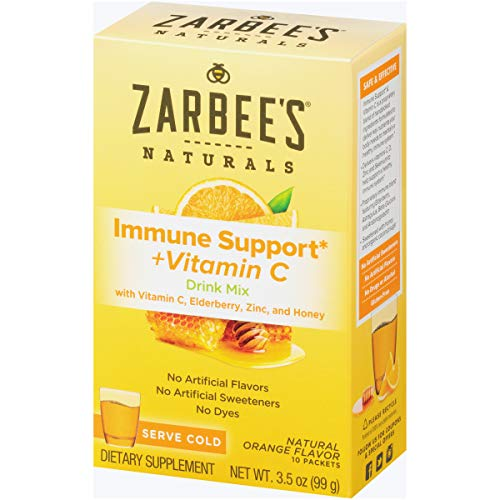 Zarbee's Naturals Immune Support* & Vitamin C Drink Mix with Zinc & Honey, Natural Orange Flavor, 10 Packets