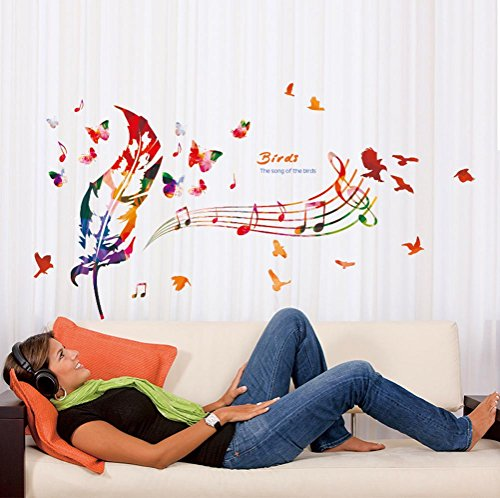 BIBITIME Colorful Feather Butterfly Music Note Wall Decal Singing Song Birds Vinyl Quotes Sticker for Classroom Nursery Bedroom Kids Room Decor DIY 46.85