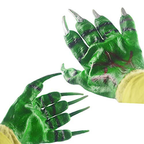 Amosfun Halloween Funny Green Devil Gloves Party Cosplay Props Accessories Hulk Gloves Halloween Costumes Halloween Party Favors Halloween Gloves Accessories