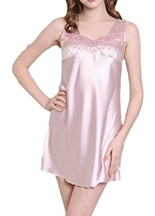 3f3b6c4bca8 Wofupowga Womens Sleeveless Faux Silk Sleep Dress Lace Chic Sleepwear  Summer Nightgowns 6 XXS