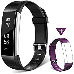 Fitness Tracker Watch, Homogo H2 Fitness Watch Activity Tracker with Sleep Monitor, Smart Pedometer for Step Distance Calories Track (Black+Purple Band) ¡­