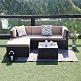 Wisteria Lane Outdoor Sectional Patio Furniture,5 Piece Wicker Rattan Sofa Couch with Ottoma Conversation Set Gray Wicker,Beige Cushions