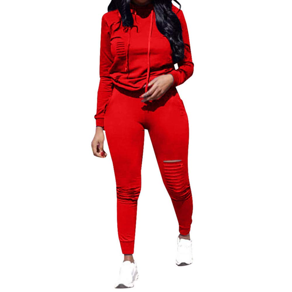 ad4e116b763 Top-Vigor Womens 2PCS Plus Size Sweatsuits Set Long Sleeve Hoodie and Bodycon  Pants Jogging Suit Tracksuit for Women Ladies at Amazon Women s Clothing  store ...