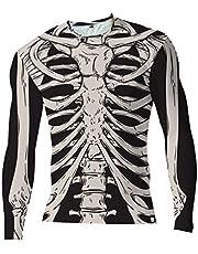 Minkissy Halloween Mens Long- sleeved T- shirt Size S Slim Round Neck Shirt 3d Three- dimensional Skeleton Printed Shirt Skeleton Top Halloween Costume for Men