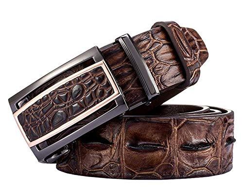 EZ CLICK BELTS Men's Alligator Full Grain Leather Ratchet Belts (Waist 28