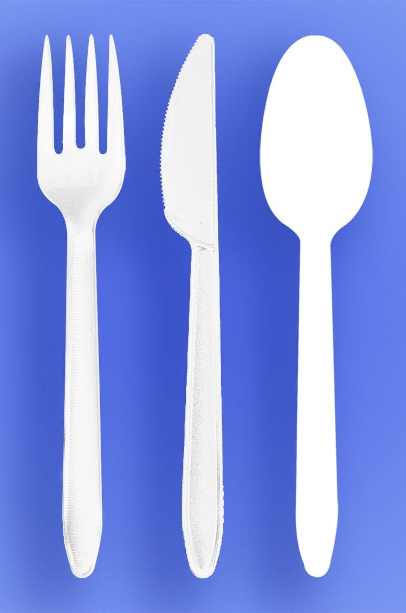 WOW Plastics Inc。中重量スプーン、フォーク、ナイフ – ホワイト – 3 / 1000 ( 3 , 000 /ケース) B072LWNFPD