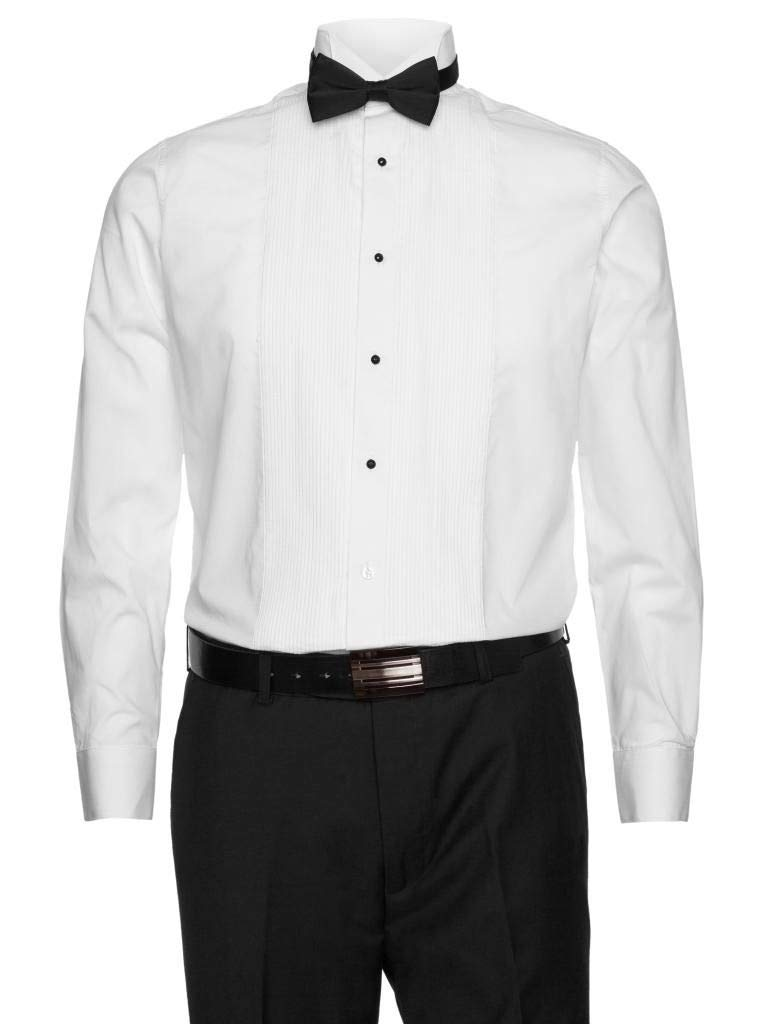 Gentlemens Collection Mens White Tuxedo Shirt - 1/4 Inch Pleats with Bow Tie White 16.5 36/37 by Gentlemens Collection